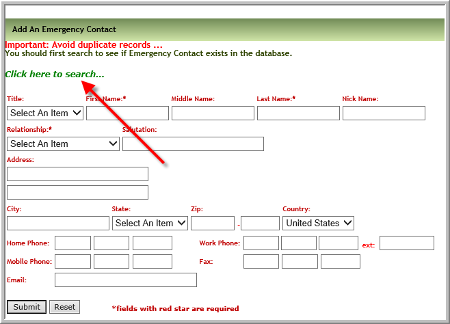 how do i work with emergency contact duplicate pop up vitals